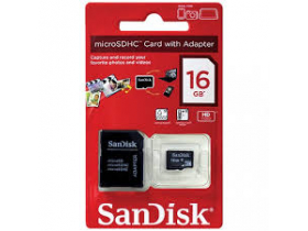 Cartão de Memória Micro SD 16GB c/adap Classe 4 SDSDQM Sandisk
